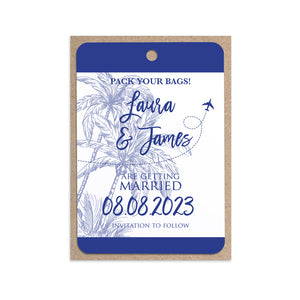Palm Tree Passport Wedding Save the Date Cards, Wedding Abroad, Destination Wedding, Travel Wedding, Plane Ticket, 10 Pack