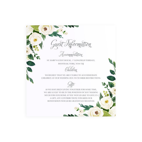White Wedding Guest Information Cards, Detail Cards, Square, White Floral Watercolour, White Peony, White Rose Invites, Botanical Wedding, 10 Pack