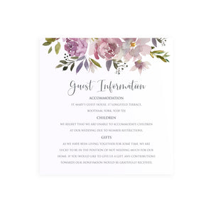 Dusty Rose Wedding Guest Information Cards, Detail Cards, Square, Mauve, Dusky Pink, Pink Rose, Blush Wedding, 10 Pack
