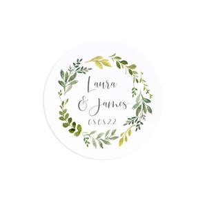 Botanical Garden Wedding Stickers, Personalised Stickers, Watercolour Foliage, Greenery, Eucalyptus Invites, Green Wreath, Botanical Wedding