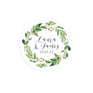 Green Leaf Wedding Stickers, Personalised Stickers, Watercolour Foliage, Greenery, Eucalyptus Invites, Green Wreath, Botanical Wedding