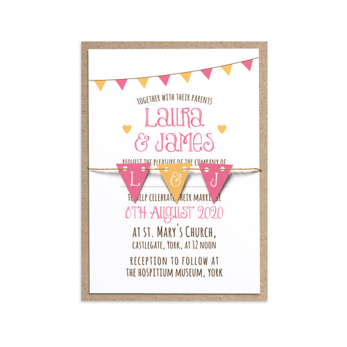 Summer Fair Wedding Invitations, Bunting Invitations, Bunting Wedding, Cute Bunting, 10 Pack