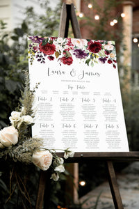 Red and Gold Table Plan, Seating Plan, Seating Chart, Ruby Red, Burgundy, Blush, Red Floral, A2 Size