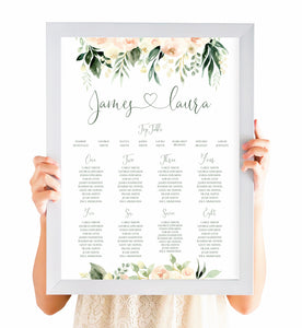 Blush Floral Table Plan, Seating Plan, Blush Wedding, Pink Flowers, Blush Ivory, Botanical, Modern Wedding, A2 Size
