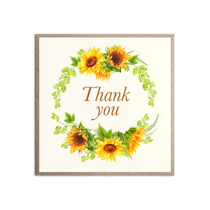 Rustic Sunflower Thank you cards, Rustic Wedding, Country Wedding, Sunflowers, Sunflower, 10 Pack