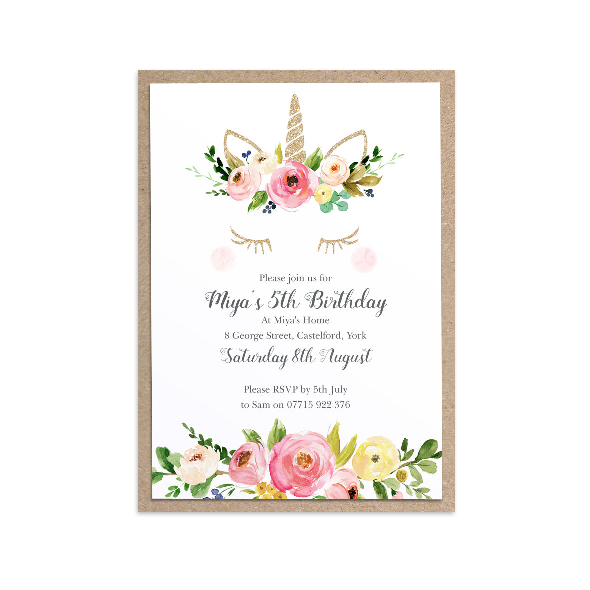 Unicorn Birthday Invitation Magical Floral Invite Pink And Gold