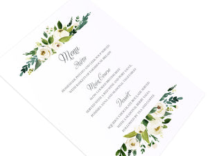White Wedding Wedding Menu, White Floral Watercolour, White Peony, White Rose Invites, Botanical Wedding, 5 Pack