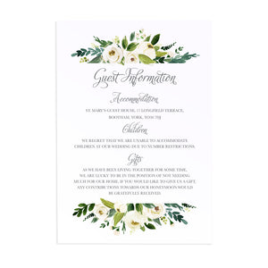 White Wedding Guest Information Cards, Detail Cards, White Floral Watercolour, White Peony, White Rose Invites, Botanical Wedding, 10 Pack
