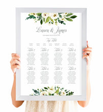 White Wedding Table Plan, Seating Plan, White Floral Watercolour, White Peony, White Rose Invites, Botanical Wedding, A2 Size