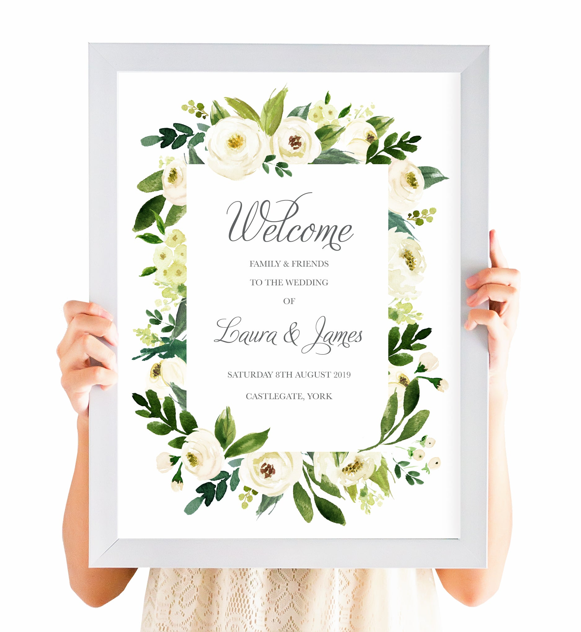 Wedding Welcome Sign.White Wedding Welcome Sign White Floral Watercolour White Peony White Rose Invites Botanical Wedding