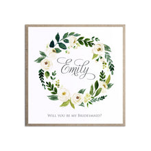 White Wedding Will you be my Bridesmaid card, Maid of Honour, White Floral Watercolour, White Peony, White Rose Invites, Botanical Wedding,