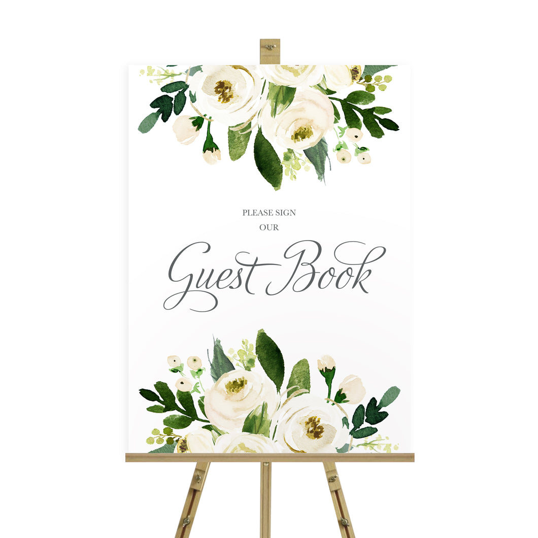 White Wedding Guest Book Sign, Please Sign Our Guest Book Sign, White Floral Watercolour, White Peony, White Rose Invites, Botanical Wedding