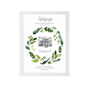 White Wedding Instagram Sign, White Floral Watercolour, White Peony, White Rose Invites, Botanical Wedding, 8x10 Size