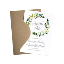 White Wedding Save the Date Cards, White Floral Watercolour, White Peony, White Rose Invites, Botanical Wedding, 10 Pack