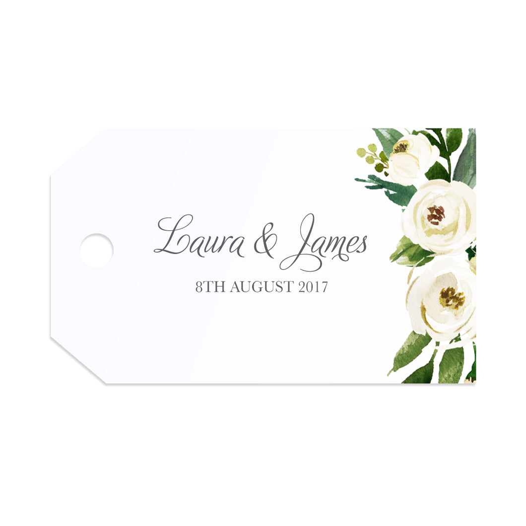 White Wedding Tags & Twine, White Floral Watercolour, White Peony, White Rose Invites, Botanical Wedding, 10 Pack