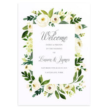 White Wedding Welcome Sign, White Floral Watercolour, White Peony, White Rose Invites, Botanical Wedding