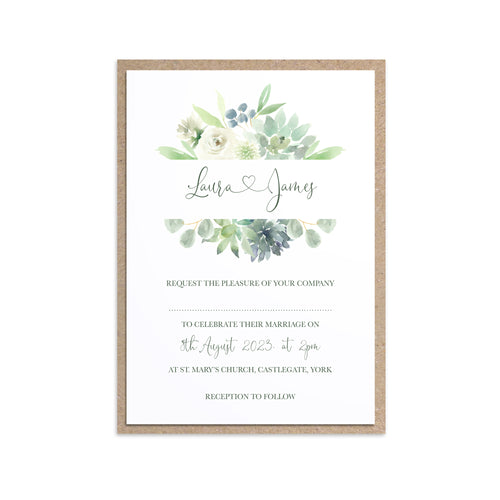 Succulent Floral Wedding Invitations, Bar Frame, Botanical Wedding, Mint Wedding, Eucalyptus, 10 Pack