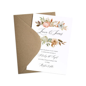 Autumn Pumpkin Wedding Invitations, Floral Bar, Halloween, Autumn Wedding, Fall Wedding, Autumn Leaf, 10 Pack