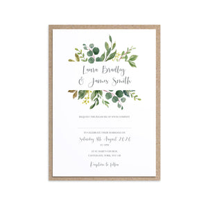 Botanical Garden Wedding Invitations, Greenery Wedding, Leaf Wedding, Botanical Wedding, 10 Pack