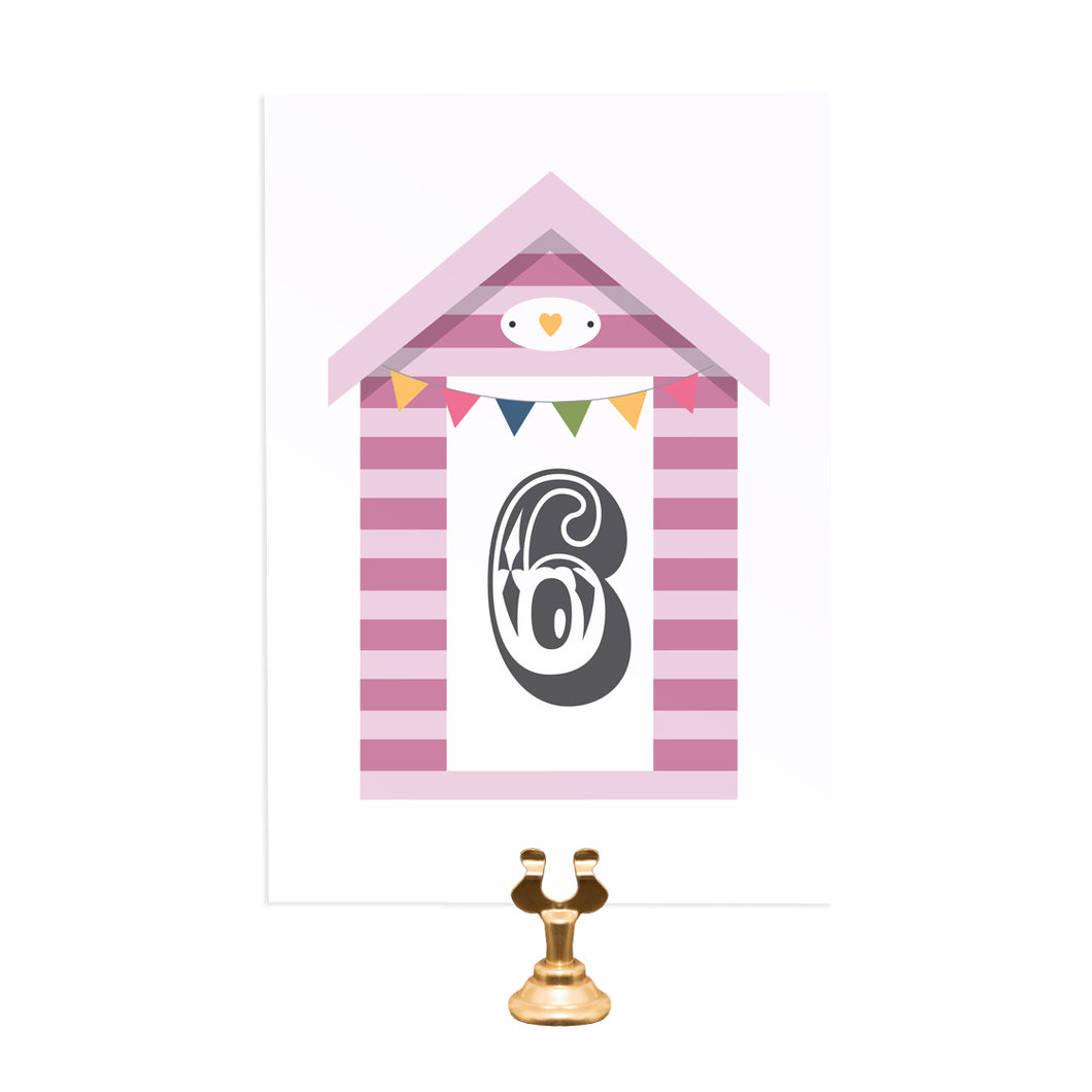 Beach Hut Table Numbers, Table Names, Beach Wedding, Seaside Wedding, Bunting, Nautical Wedding, Colourful Beach Huts, Coastal Wedding, 5 Pack
