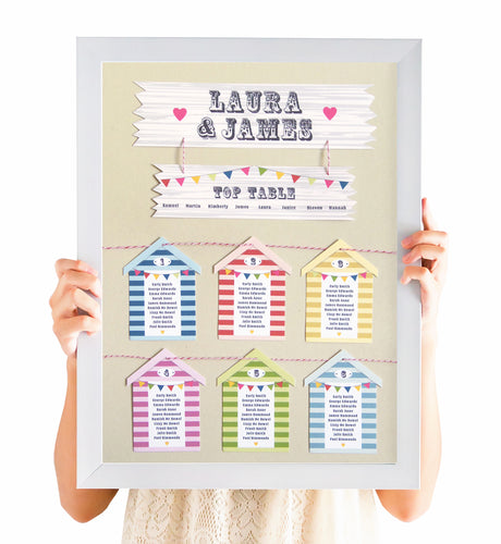 Beach Hut Table Plan, Seating Plan, Beach Wedding, Seaside Wedding, Bunting, Nautical Wedding, Colourful Beach Huts, Coastal Wedding, A2 Size