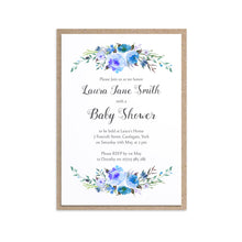 Watercolour Flower Baby Shower Invitations, Blue Floral, Blue Baby Shower, Blue Flowers, 10 Pack