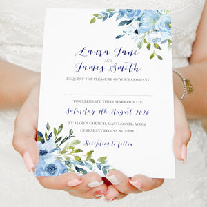 Blue Floral Wedding Invitations, Blue Watercolour flowers, Baby Blue, Pastel Blue Wedding, 10 Pack