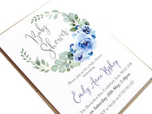 Blue Flower Baby Shower Invitations, Round Wreath, Blue Baby Shower, Blue Flowers, 10 Pack
