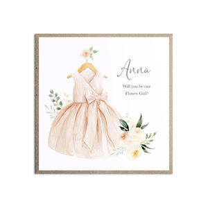 Blush Floral Will you be our Flower Girl card, Bridesmaid Proposal, Blush Wedding, Pink Flowers, Blush Ivory, Botanical, Modern Floral Wedding