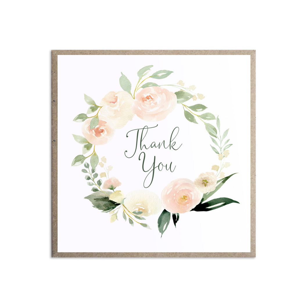 Blush Floral Thank you cards, Blush Wedding, Pink Flowers, Blush Ivory, Botanical, Modern Floral Wedding, 10 Pack