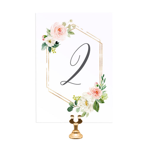 Blush and Gold Table Numbers, Geometric, Table Names, Pink Watercolour flowers, Blush Wedding, 5 Pack