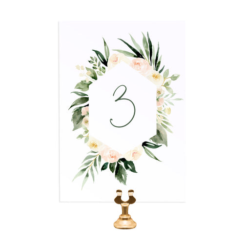 Blush Floral Table Numbers, Table Names, Blush Wedding, Pink Flowers, Blush Ivory, Botanical, Modern Floral, 5 Pack