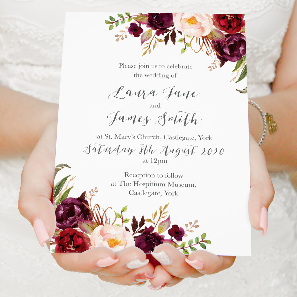Wedding Invitations Rose: Boho Red Rose Wedding Invitations, Floral Edge, Burgundy