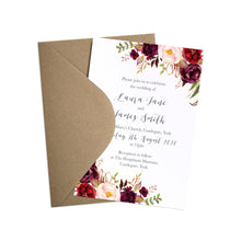 Boho Red Rose Wedding Invitations, Floral Edge, Burgundy Invite, Red Roses, Red Wedding, Boho Floral Wedding Invite, 10 Pack