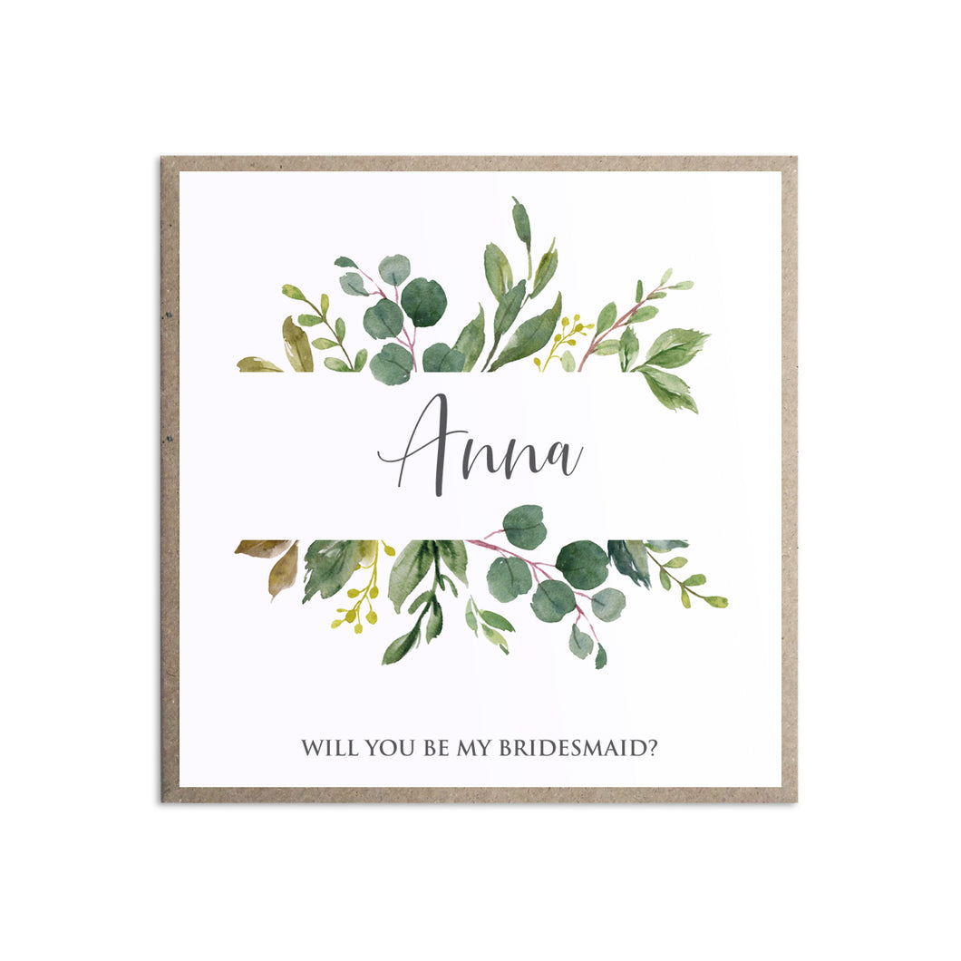 Botanical Garden Will you be my Bridesmaid card, Maid of Honour, Greenery Wedding, Leaf Wedding, Botanical Wedding