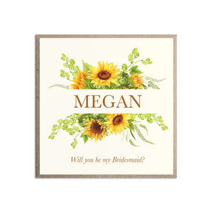 Rustic Sunflower Will you be my Bridesmaid card, Maid of Honour, Rustic Wedding, Country Wedding, Sunflowers, Sunflower