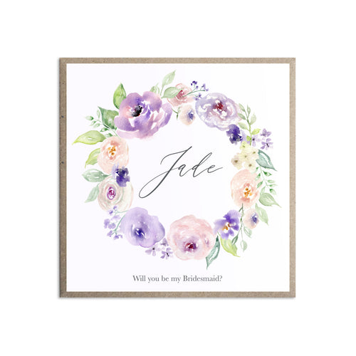 Lilac and Blush Will you be my Bridesmaid card, Maid of Honour, Purple Wedding, Lilac Wedding