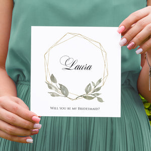 Elegant Geometric Will you be my Bridesmaid card, Maid of Honour, Greenery Wedding, Leaf Wedding, Foliage
