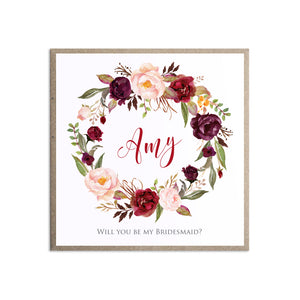 Boho Floral Antler Will you be my Bridesmaid card, Maid of Honour, Rustic Wedding Invitation, Floral Wedding Invitation, Red Rose, Rustic Country