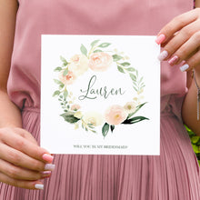 Blush Floral Will you be my Bridesmaid card, Maid of Honour, Blush Wedding, Pink Flowers, Blush Ivory, Botanical, Modern Floral Wedding