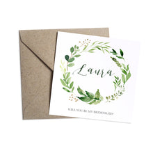 Green Leaf Will you be my Bridesmaid card, Maid of Honour, Watercolour Foliage, Greenery, Eucalyptus Invites, Green Wreath, Botanical Wedding