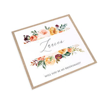 Autumn Floral Will you be my Bridesmaid card, Maid of Honour, Autumn Wedding, Fall Wedding, Burgundy & Orange, Peach Wedding