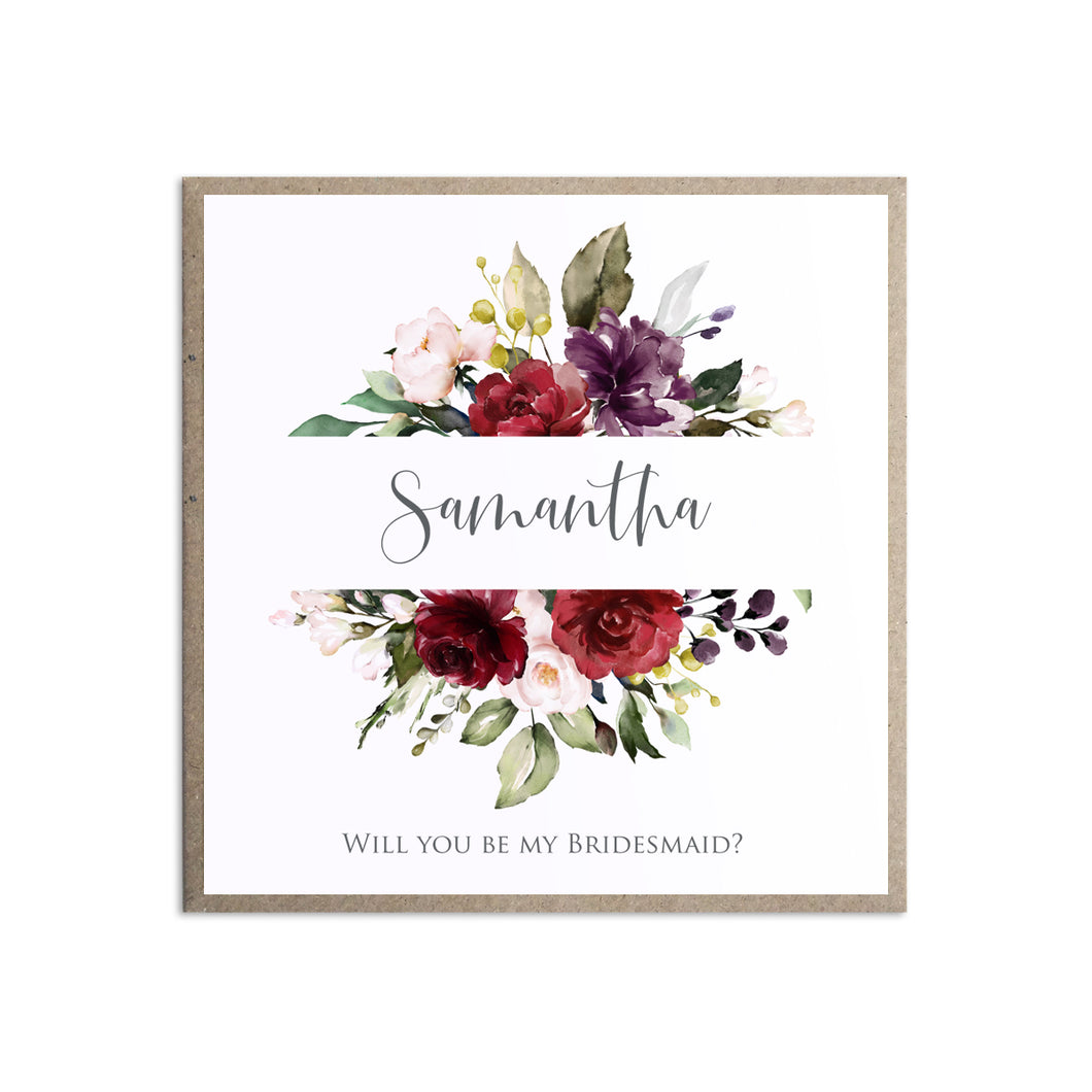 Red and Gold Will you be my Bridesmaid card, Maid of Honour, Ruby Red, Burgundy, Blush, Red Floral