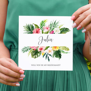 Tropical Floral Will you be my Bridesmaid card, Maid of Honour, Beach Wedding, Tropical Wedding