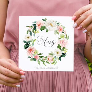 Blush and Gold Will you be my Bridesmaid card, Maid of Honour, Pink Watercolour flowers, Blush Wedding