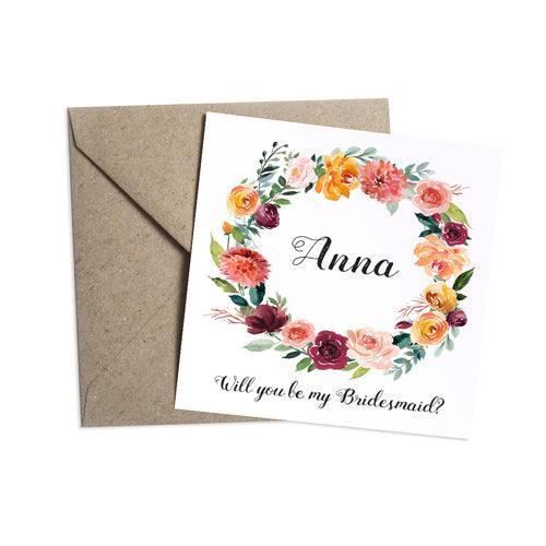 Paprika Will you be my Bridesmaid card, Maid of Honour, Orange Floral Wedding Invitation, Autumn Wedding, Fall Wedding