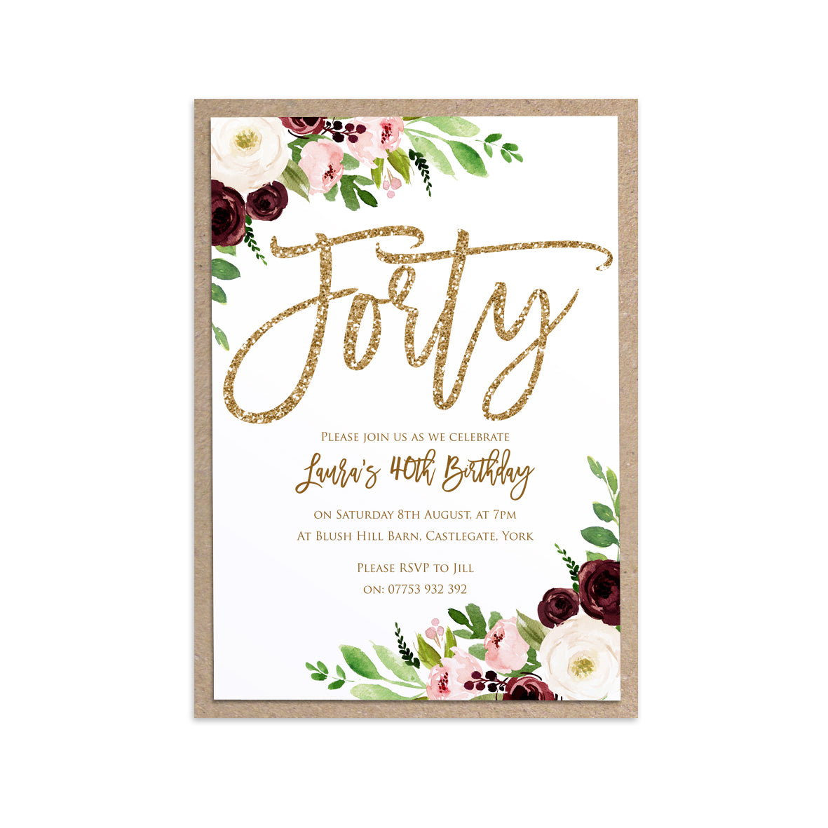 40th Birthday Invitation, Forty Party Invitations, Burgundy Birthday ...