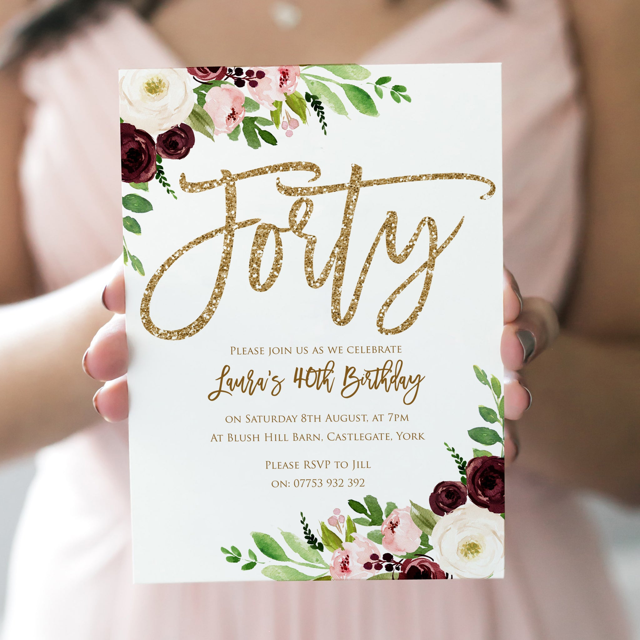 40th Birthday Invitation Forty Party Invitations Burgundy Blush Floral