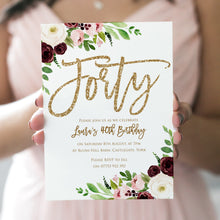 40th Birthday Invitation, Forty Party Invitations, Burgundy Birthday, Blush & Burgundy, Floral Birthday Invites, Faux Glitter Invitations, 10 Pack