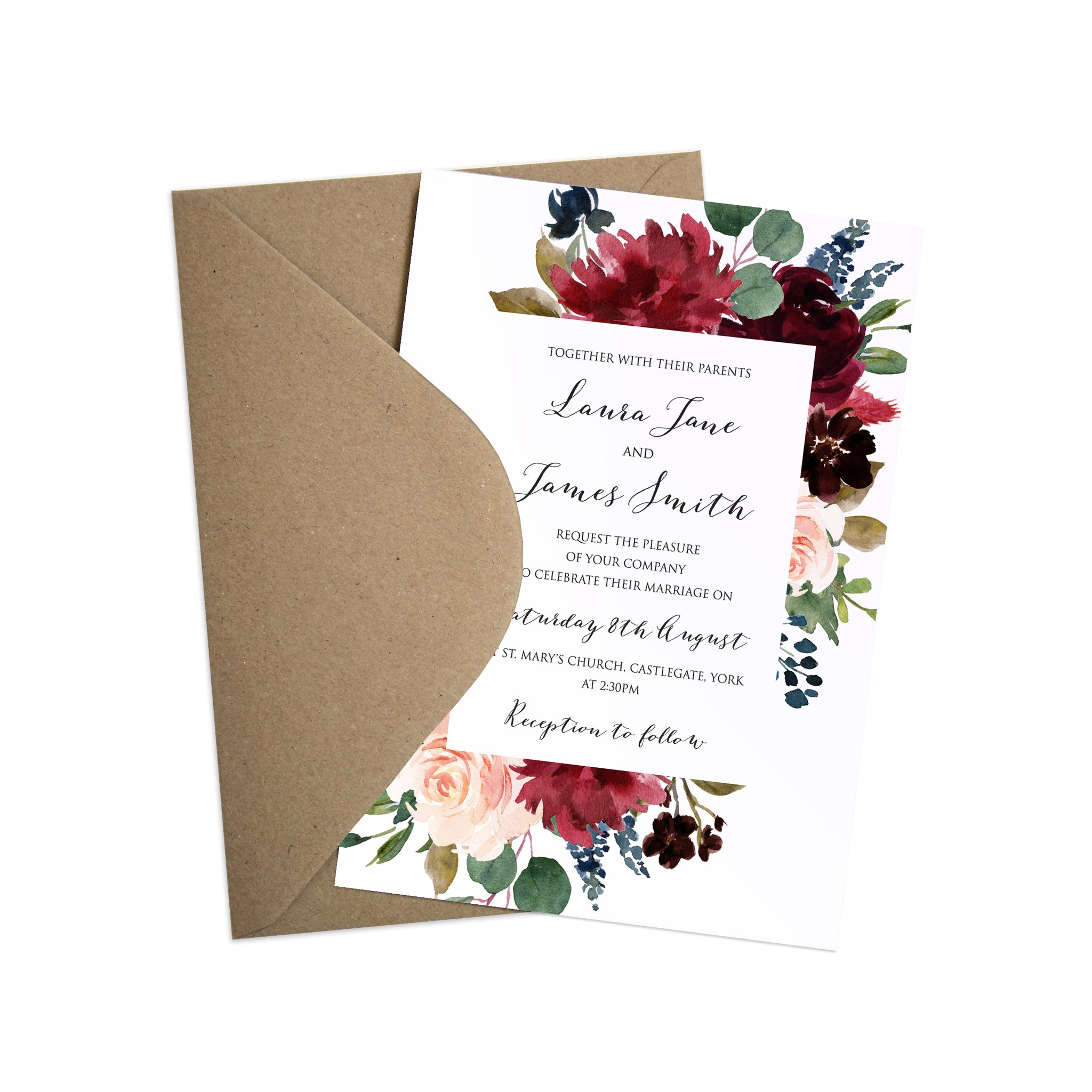 burgundy navy blush floral wedding invitations floral frame